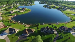 Amazing idyllic rural suburb with beautiful houses on lake. Stock Footage