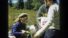 1957: Grandpa holding Knickerbocker beer box corn ears picked autumn harvest. Stock Footage