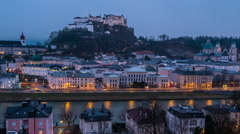 View of Salzburg, Austria at night - stock footage