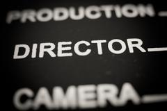 Director label on movie clapper board Stock Photos