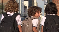 School Boys Students With Backpacks Stock Footage