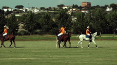 Polo challenge. Two jockeys rivals beat five N. Stock Footage