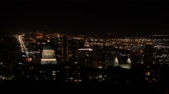 Aerial static shot at downtown Salt Lake City Utah at night Stock Footage