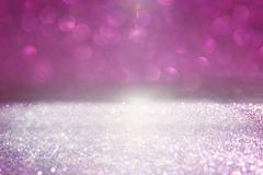 Glitter vintage lights background. pink and silver Stock Photos