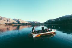 Boating on amazing lake. Beautiful, still, majestic. High Resolution Photo. Stock Photos
