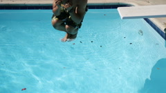 Slow Motion Cannonball into Pool Stock Footage
