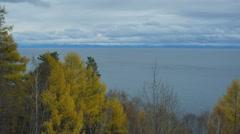 Lake Baikal, Sayan mountains view, 4K. UNESCO World Heritage Site, deepest lake Stock Footage