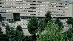New Corviale.  Aerial drone. Modern building in a poor neighborhood of Rome. N. Stock Footage