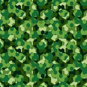 Forest camouflage geometric hexagon seamless pattern - stock illustration