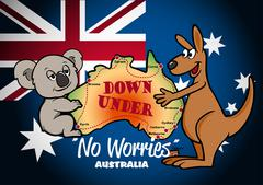 Map of Australia with Koala Kangaroo and flag - stock illustration