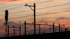 Train riding railway, 4k shot. Arkistovideo