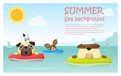 Enjoy tropical summer holiday with little dog Stock Illustration