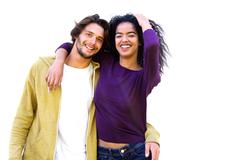 Smiling couple against white background Stock Photos