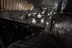 St. Kinga's Chapel  - 101 meters underground in Wieliczka Salt Mine Stock Photos