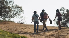 Amateur Low Budget Film Crew Walking up Runyon Canyon Trail Stock Footage