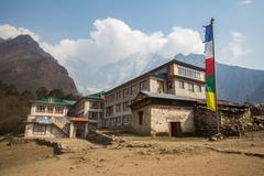 TENGBOCHE, NEPAL-APRIL 29: Tengboche Monastery 29, 2016 in Tengboche, Nepal.  - stock photo
