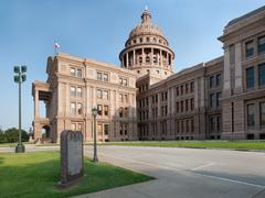 Back Side of Texas Capitol Building With Ten Commandments Stock Photos