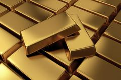 Rows of gold bars,3d rendering Stock Illustration