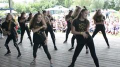 Children dancing modern sports dances on stage Stock Footage