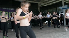 Children dancing modern sports dances on stage Stock Footage