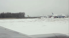 View from airplane to the Domodedovo International airport. Stock Footage