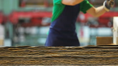 Worker at a plywood manufacturing Stock Footage