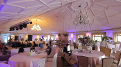 Interior of a wedding hall decoration ready for guests.Beautiful room for Stock Footage
