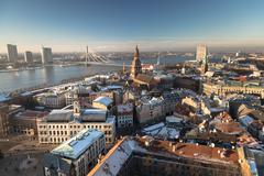 Latvias Capital - Riga from a bird's eye view - stock photo