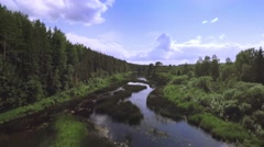Overgrown marshy river with reflection of the sky in the coniferous forest - stock footage