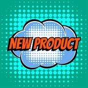 New product comic book bubble text retro style - stock illustration