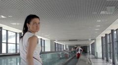 Walkalator in Sheremetyevo aiport terminal D. Stock Footage