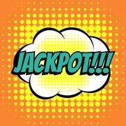 Jackpot comic book bubble text retro style Stock Illustration