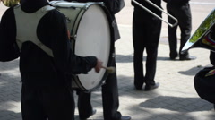 Military navy band drummer playing bass drum Stock Footage