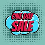 One day sale comic book bubble text retro style - stock illustration