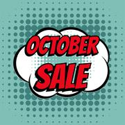 October sale comic book bubble text retro style - stock illustration