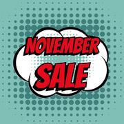 November sale comic book bubble text retro style - stock illustration