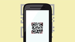 Animation of qr code scanning technology - stock footage