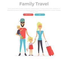 Happy Family Trip Traveling - stock illustration