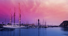 Sunset sky over yachts in marina. Timelapse of pink sky over yacht port Stock Footage