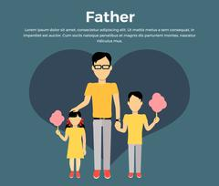 Father with Children Banner Concept Stock Illustration