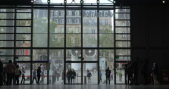 Crowded lobby of Pompidou Centre in Paris Stock Footage