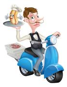 Cartoon Waiter on Scooter Moped With Hot Dog - stock illustration