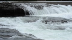 Beautiful river stream with white foamy waterfall in summer nature Stock Footage