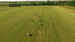 University  International Polo challenge. Slight slow motion. N Aerial drone sho Stock Footage