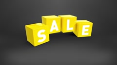 Falling yellow cubes with text SALE Stock Footage