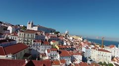 Aerial shot of Alfama with Saint Vicente Monastery lisbon Portugal Stock Footage