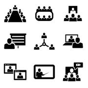 Vector conference icons set. Business communication Stock Illustration