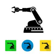Vector industrial robot arm icon - stock illustration