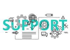 Support concept flat line design with icons and elements. Modern support conc - stock illustration