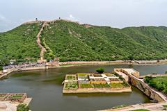 Garden, Maota Lake and Jaipur Wall viewed from Amber Fort Stock Photos